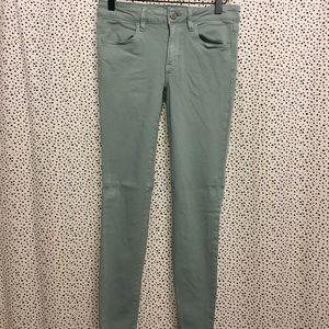 American eagle begging crop jeans light teal color